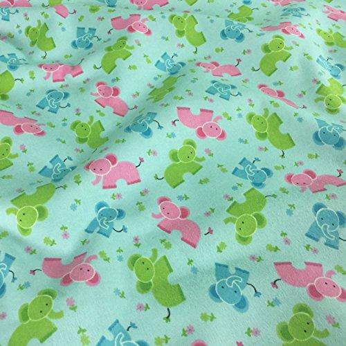 elefanti blu stampa bambini/novità 100% flanella di cotone spazzolato tessuto larga 152,4cm-venduto al metro
