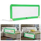 AmzdealBarriera per letto portatile per neonati bambino, Barriera di sicurezza pieghevole e lavabile in nylon + plastica 150* 50* 40cm (verde)