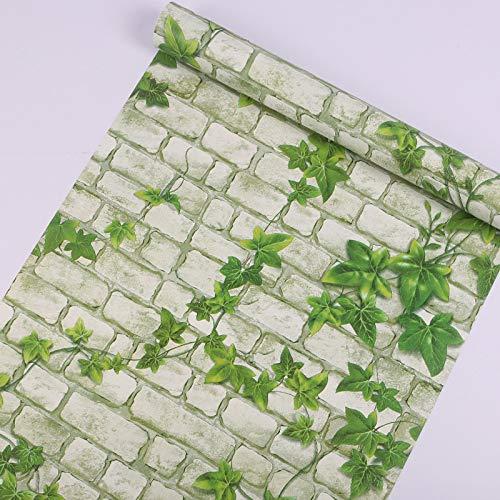 lsaiyy Carta da Parati Impermeabile in PVC Imitazione Mattone Ristorante Carta da Parati autoadesiva Adesivi murali Verdi Carta da Parati- 45CMX10M