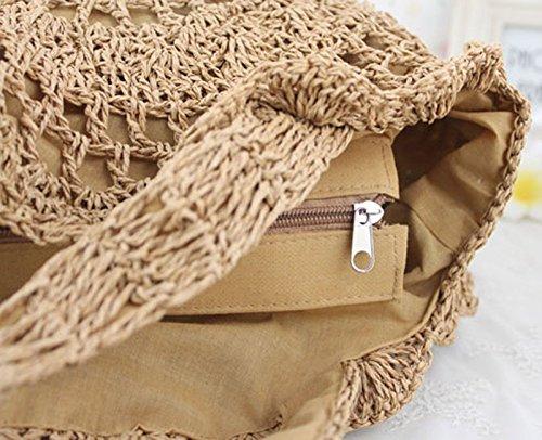 Donalworld estiva da donna, in tessuto, stile Casual, con fiore e cannuccia, Borsa da spiaggia con borsa con chiusura a cordoncino, con frange Beige (beige)
