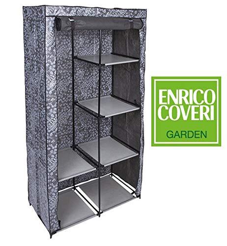 Enrico coveri contemporary armadio salvaspazio guardaroba in tessuto 89x46x169 centimetri colore grigio, struttura acciaio 4 mensole regolabili e 2 fisse