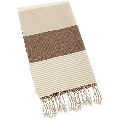 Swan Comfort 100% Organic Turkish Cotton Absorbent Beach Towel, Easy Care ideal for Bath Spa Fitness Yoga Pool Yatch Swimwear Guest Gym - Brown - Beige by