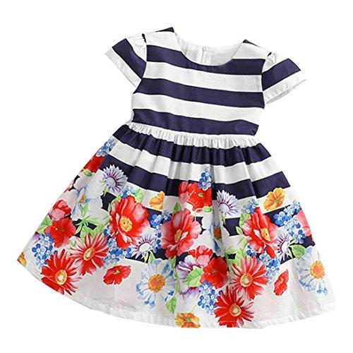 JERFER Floral Gestreifte Prinzessin Kleid Kleinkind Kinder Mädchen Freizeitkleidung ()