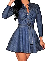 Saoye Fashion Donna Vestiti Eleganti Ragazza Camicia Vestito di Jeans Corti  Manica Lunga Single Breasted Cocktail A Pieghe Abito Vintage da… 7db48168256