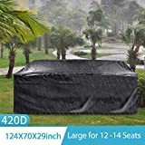 king do way Garden Furniture Covers,Large Garden Table Cover 420D Heavy Duty Oxford Fabric Patio Furniture Covers Waterproof,Windproof,&Anti-UV for Chair and Table Rattan Sofa 315 X 180 X 74cm (Black)