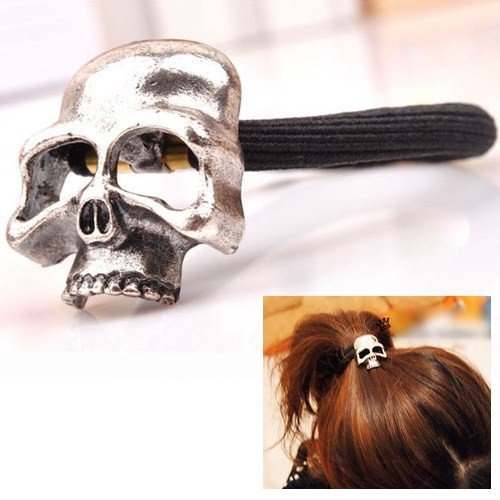 Honeysuck Gothic Punk Skull Hair Ponytail Cuff Hair Band Hair Hoop(Antique Silver) Test