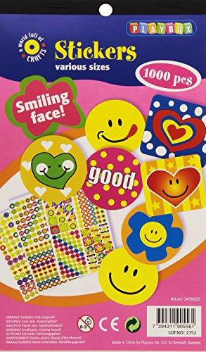 Playbox-Adesivi, motivo: faccine sorridenti (Confezione da 1000)