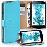 moex LG Google Nexus 4 | Hülle Türkis mit Karten-Fach 360° Book Klapp-Hülle Handytasche Kunst-Leder Handyhülle für LG Google Nexus 4 Case Flip Cover Schutzhülle Tasche