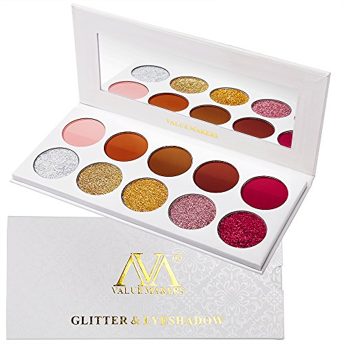Lidschatten Palette Glitzer Und Matte, Valuemakers Eyeshadow Palette Red Rose Gold Silber Brown Warm 10 Colors,Hochpigmentierte Lange Andauernd Glitter Cream Groß Palette Lidschatten Make-up Set -