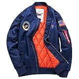 Herren Übergröße Leichtgewich Jacke Bomberjacke MA1 Fliegerjacke Sportbekleidung Fahrradjacke Mantel Windjacke (Blau, X-Small)