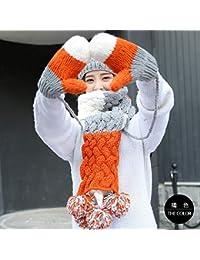 61c07203b19 YSFU Bonnet Echarpe Gants Femme Chapeau Tricot Bonnet Écharpe Gants Costume  Trois Pièces Costume Écharpe Bavoir