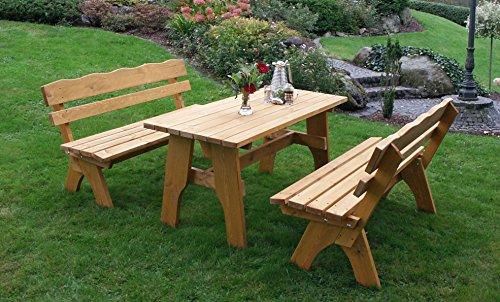 Kiefer Gartenmöbel (Gartengarnitur Freital 150cm 3-teilig, Kiefer massiv 35mm, imprägniert)