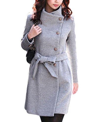 ZhuiKun Mujer Abrigo Clasico Solapa Trenca Abrigo de Manga Larga Chaqueta con Cinturón Gris XXL