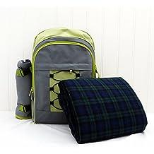 4persona mochila de picnic con manta de color gris y lima–regalo ideas para regalos de Navidad, cumpleaños, aniversario y felicitaciones presenta
