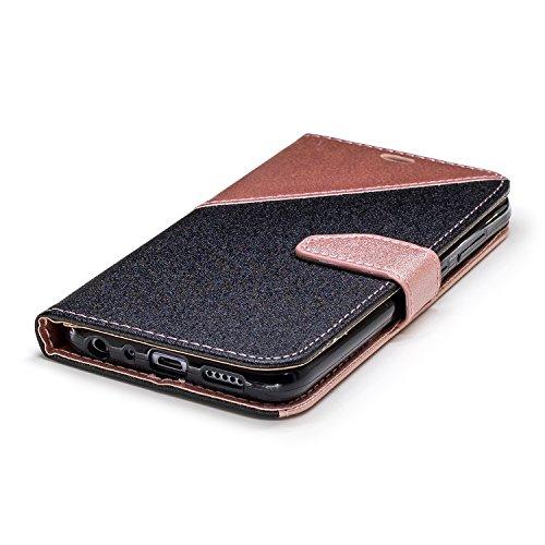 Coque Huawei Honor 9 Lite,Etui Huawei Honor 9 Lite,Surakey Huawei Honor 9 Lite Cuir PU Housse à Rabat Portefeuille Étui Flip Case Folio à Clapet Stand de Fermeture magnétique, Noir+Rose Or