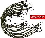 Heavy Duty corde elastiche con ganci in zinco, confezione da 10, verde