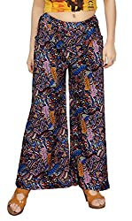 Comix Cotton Lycra Fabric Printed Women Palazzo Pant(AGSPL-3238-VAY-PZ-33-PINK-BLUE-FREE)