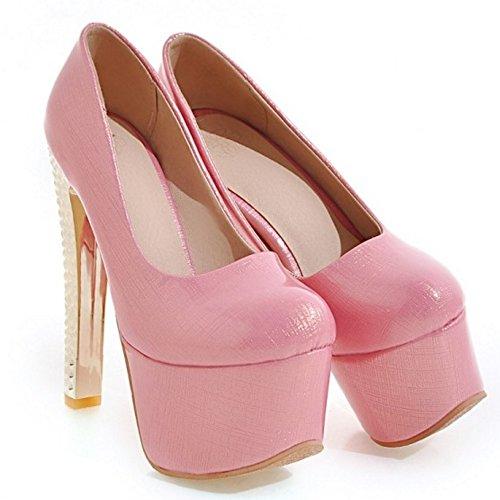 e4e04941586c9b ... TAOFFEN Damen Western Schlupfschuhe Stiletto Party Plateau Pumps 442  Pink ...