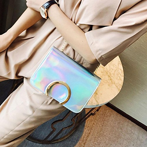 Y&F Frau Schultertaschen Schräges Kreuzpaket Farbe 21 * 15 * 6 cm Silver
