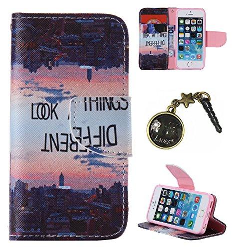 PU Cuir Coque Strass Case Etui Coque étui de portefeuille protection Coque Case Cas Cuir Swag Pour Apple iPhone 5 / 5s / SE +Bouchons de poussière (11LS) 11