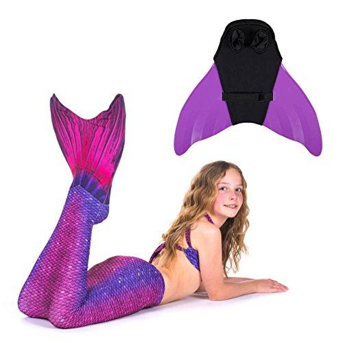 SUN TAILS Set Meerjungfrauenflossen Kostüm Bali Blush Monoflosse Meerjungfrau Flosse Kinder Jugendliche Erwachsene XL violett