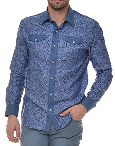 M.Conte Men Shirt Camicia Manica lunga Casual Cotone da Uomo Vasco, Size M