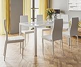 HOGAR24.es- Conjunto Mesa 140 cm x 80 cm x 75 cm + 6 SILLAS Color Blanco Salon Comedor Cocina