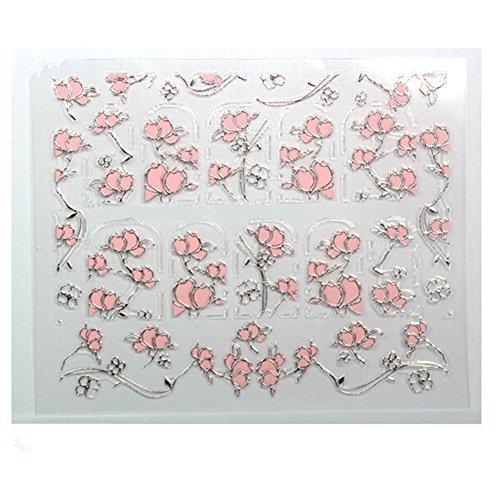 Generique 1 Planche 3D Sticker Fleur Rose Décoration Ongles Nail Art Manucure