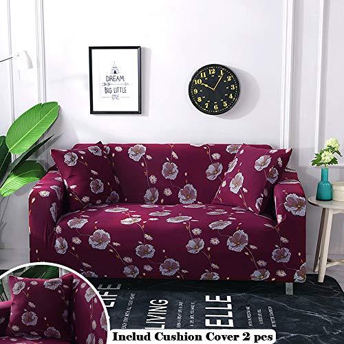 Meiju copridivano elasticizzato floreale classico vintage universale fodera per divano con corda fissa panno antiscivolo divano protector+ 2 x federa per cuscino (3 posti,fiore fucsia)