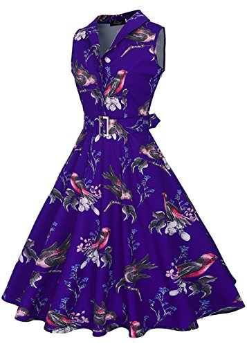 RUIYIGE Damen Kleid Bird-Blue