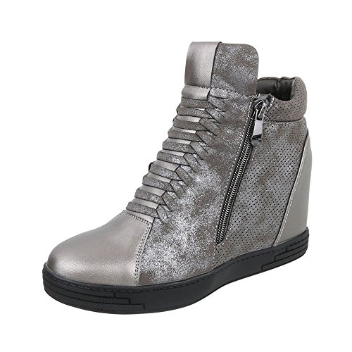 Ital-Design Keilstiefeletten Damen-Schuhe Plateau Keilabsatz/Wedge Keilabsatz Reißverschluss Stiefeletten Silber Schwarz, Gr 38, 6603-Y-
