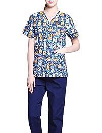 Jiyaru Uniforme Médico Ropa Enfermera de Manga Corta Bata Médico Laboratorio Enfermera Sanitaria