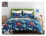 Boqingzhu Bettwäsche Set 135x200 cm Kinder Junge Dinosaurier Dino Polyester-Baumwolle 1 Bettdeckenbezug mit 1 Kissenbezug 80x80 ohne Füllung