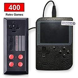 SeeKool Console de Jeu Portable Retro FC, 3 Pouces 400 Jeux Classiques Console de Jeux vidéo rétro, avec 1 Joystick pour Deux Joueurs Console, 1 Chargement USB, Grand Cadeau pour Enfants Amis (Noir)