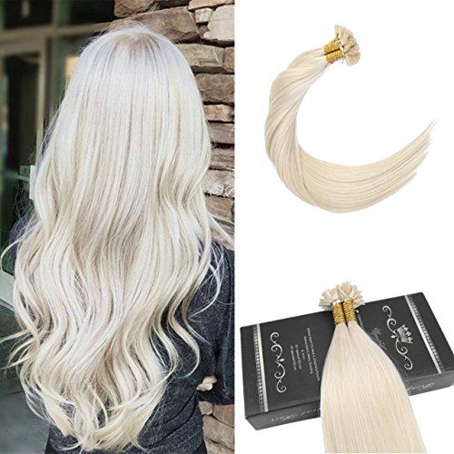 Ugeat 16Zoll #60 Flat Tip Haarverlangerung Echthaar Extensions Blond 50g 1g/s Brasilianisch Tressen Echthaar Keratinbondings