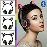 Illuminato Cat Ear Auricolari, Piccolo Diavolo Alce Coniglio Orecchie Cat Auricolare, auricolare Bluetooth Wireless per iOS e Android,Cat