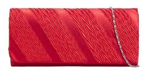 Girly HandBags , Damen Clutch rot - Patent-leder-wildleder-clutch