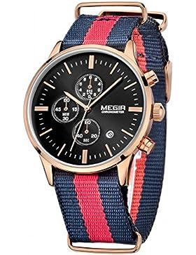 megir Herren Kalender Datum Nylongurt Chronometer Quarz Sport Armbanduhr mit gorben Box