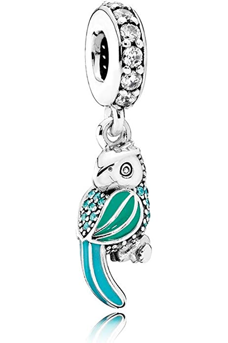 Tropical Parrot Charm Perfect for DIY Bracelet or Necklaces 925 Sterling Silver