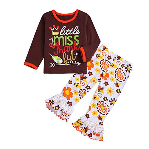 cinnamou Kinder Baby Mädchen Thanksgiving Day Outfits Set, Brief Tops +Spitze Patchwork Hose Outfits Set (Baby Thanksgiving Outfit)