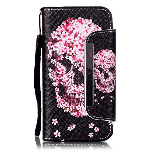 Kio iPhone 5S/SE, motivo: dipinto di viso, custodia a portafoglio con cinghia, per iPhone 5S e SE, in pelle PU, a portafoglio, con funzione di supporto, chiusura magnetica, con porta carte di credito, P-09