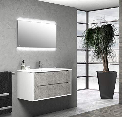 tft Mobile Bagno Sospeso 90 cm Lavabo Specchio e Lampada a LED Belsk Bianco e Cemento