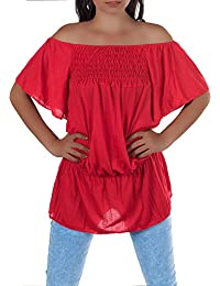N818 Damen Longshirt Shirt Tunika Chiffon Carmenbluse Minikleid Schulterfrei 3//4