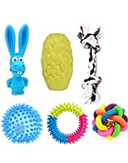 Petlicious & More Puppy Toys Dog Toys Combo of 6 Toys Chew Toys Rope Toys Squeaky Toys Dog Ball Puppy Ball Puppy Teether Toy Puppy Chew Toys (Combo of 6)