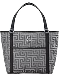 Rose Tree Plaza Designer Tote Bag With Leather Strap