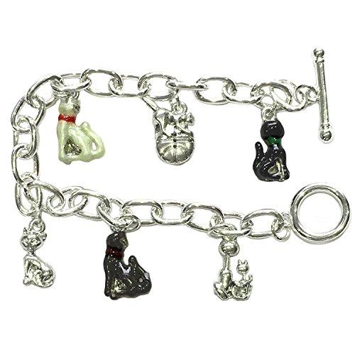 Pulsera con abalorios de gatos - Cierre de barra de pasador - Bañados en plata