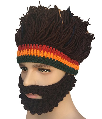 Xinqiao Barbar Stricken Bärtig Hüte Perücke Maske Zusammenfalten Komisch Kappen (Braun) (Große Bärtige Kostüm)