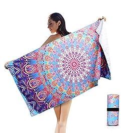 AtailorBird Telo Mare Grande Asciugamano da Spiaggia in Microfibra 150 * 75cm Bohemian Mandala Leggero Tasca Altamente…