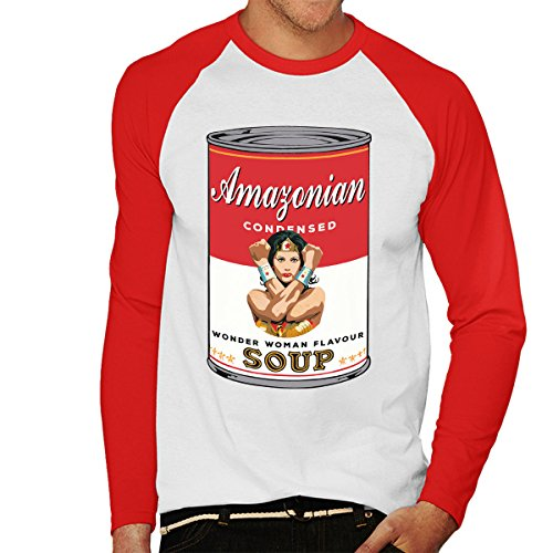Wonder Woman Amazonian Campbells Soup Men's Baseball Long Sleeved T-Shirt White/Red