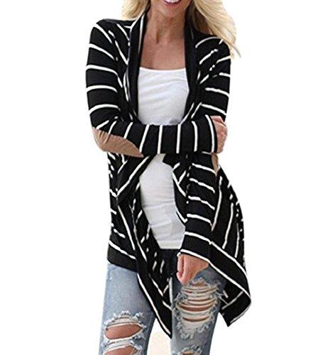 Gestreifte Strickjacke Cardigan | ZEZKT Damen Langarm Shirt Lose Jacke Kimono Cardigan Schwarz und Weiß Patchwork Outwear (XL, Schwarz) (Langarm-strickjacke Florale)